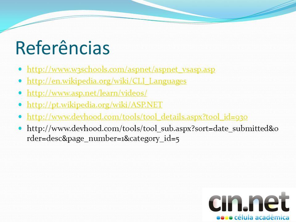 Referências http://www.w3schools.com/aspnet/aspnet_vsasp.asp