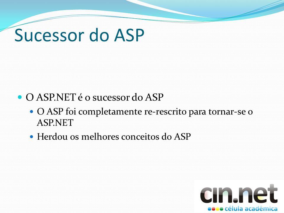 Sucessor do ASP O ASP.NET é o sucessor do ASP