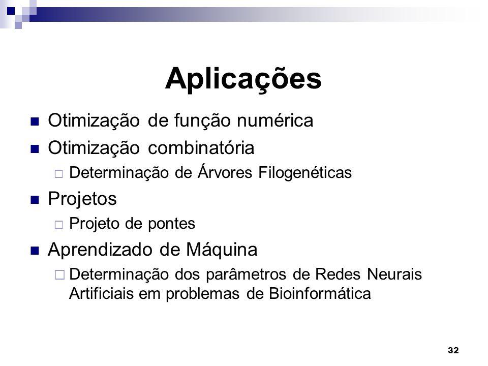 Aplicações Otimização de função numérica Otimização combinatória