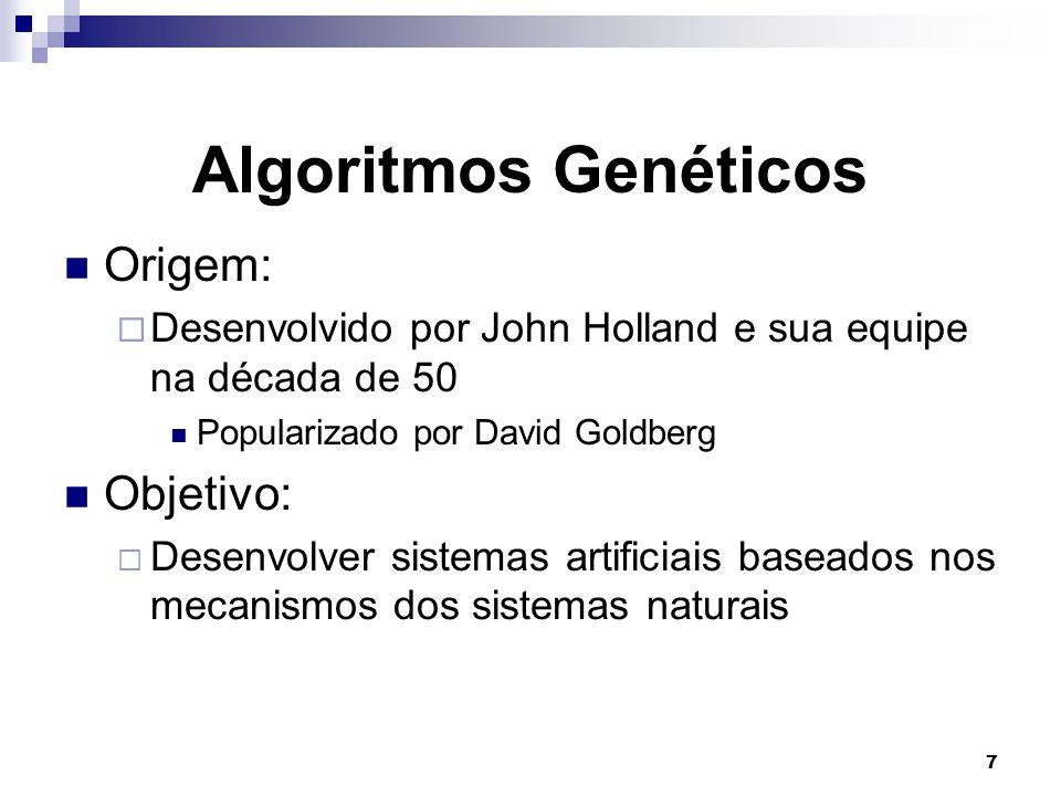 Algoritmos Genéticos Origem: Objetivo: