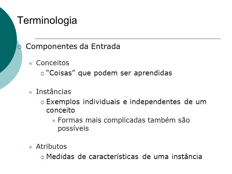 Terminologia Componentes da Entrada Coisas que podem ser aprendidas