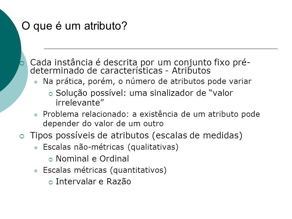 O que é um atributo Cada instância é descrita por um conjunto fixo pré-determinado de características - Atributos.
