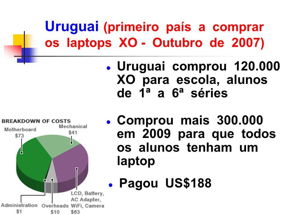 Uruguai (primeiro país a comprar os laptops XO - Outubro de 2007)