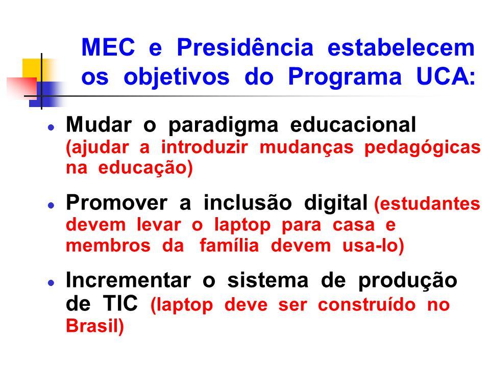 MEC e Presidência estabelecem os objetivos do Programa UCA: