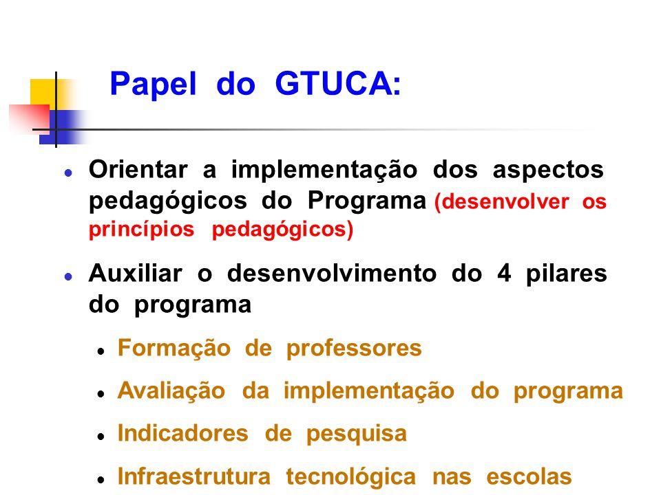 Papel do GTUCA: Orientar a implementação dos aspectos pedagógicos do Programa (desenvolver os princípios pedagógicos)