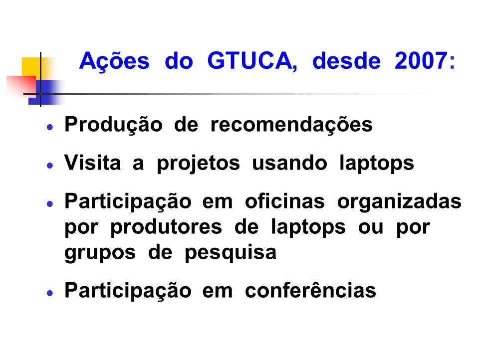Ações do GTUCA, desde 2007: Produção de recomendações