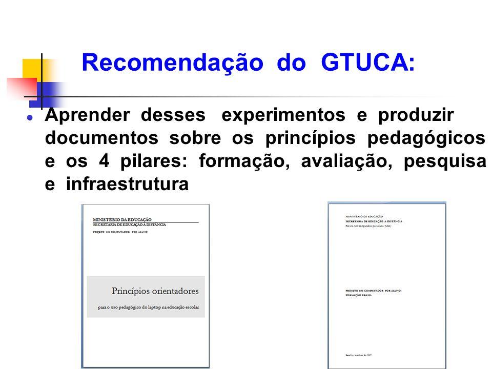 Recomendação do GTUCA: