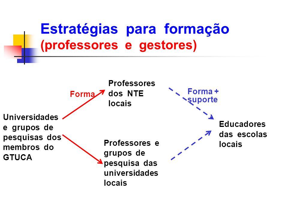 Estratégias para formação (professores e gestores)
