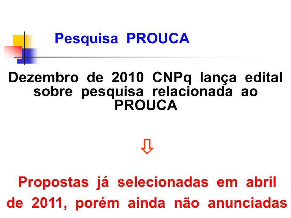 Propostas já selecionadas em abril de 2011, porém ainda não anunciadas