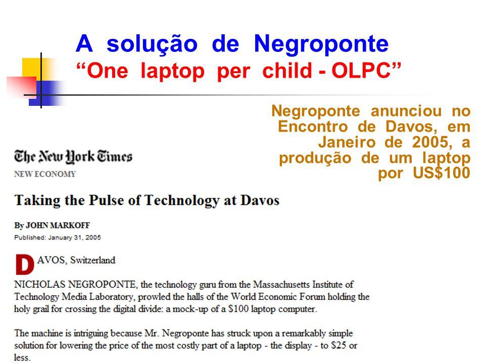 A solução de Negroponte One laptop per child - OLPC