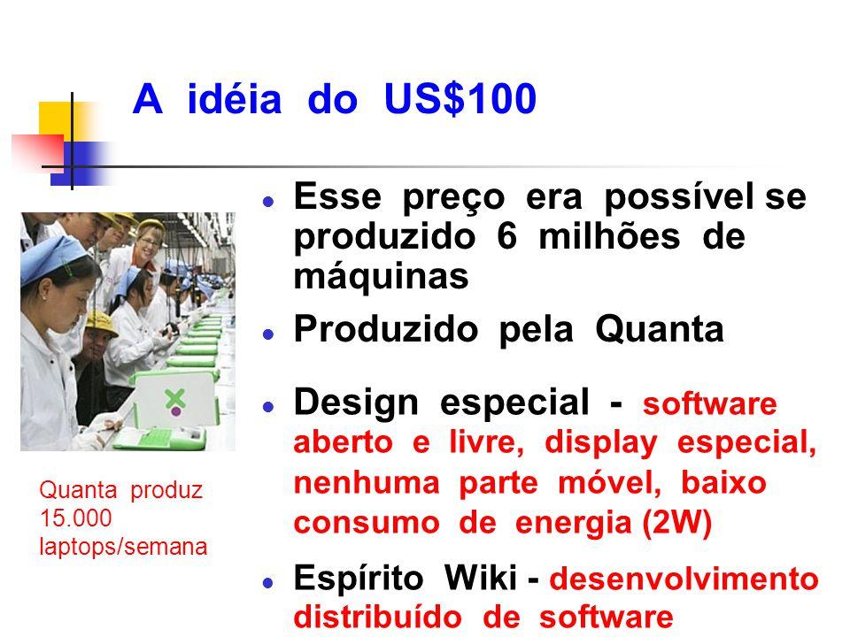A idéia do US$100 Esse preço era possível se produzido 6 milhões de máquinas. Produzido pela Quanta.