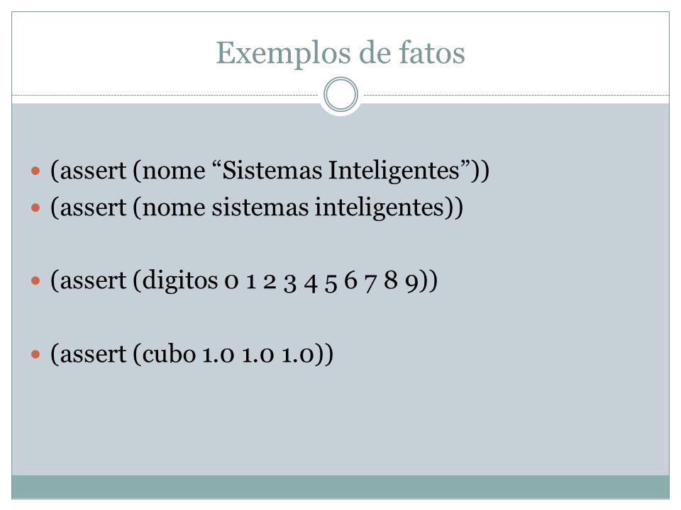 Exemplos de fatos (assert (nome Sistemas Inteligentes ))