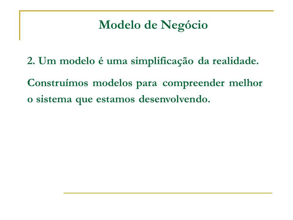 Modelo de Negócio 2. Um modelo é uma simplificação da realidade.
