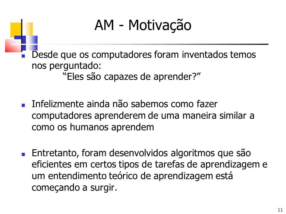 AM - Motivação Desde que os computadores foram inventados temos nos perguntado: Eles são capazes de aprender