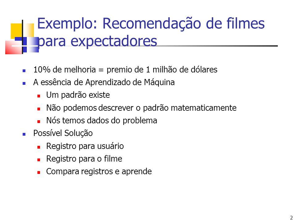 Exemplo: Recomendação de filmes para expectadores