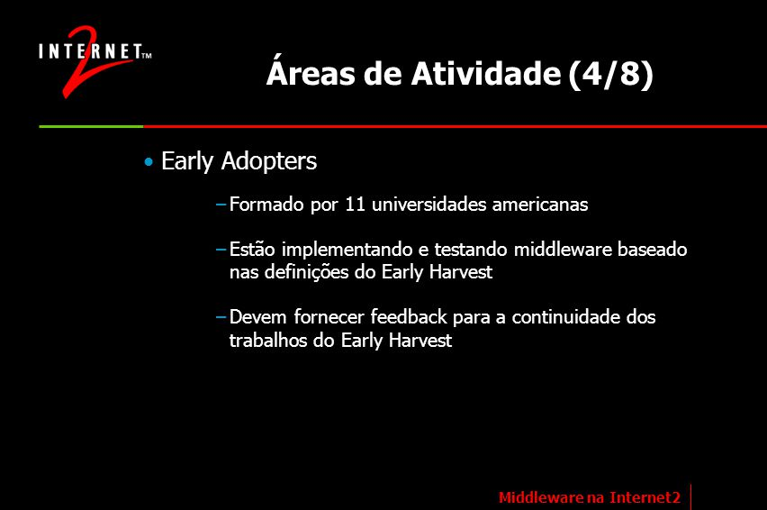 Áreas de Atividade (4/8) Early Adopters