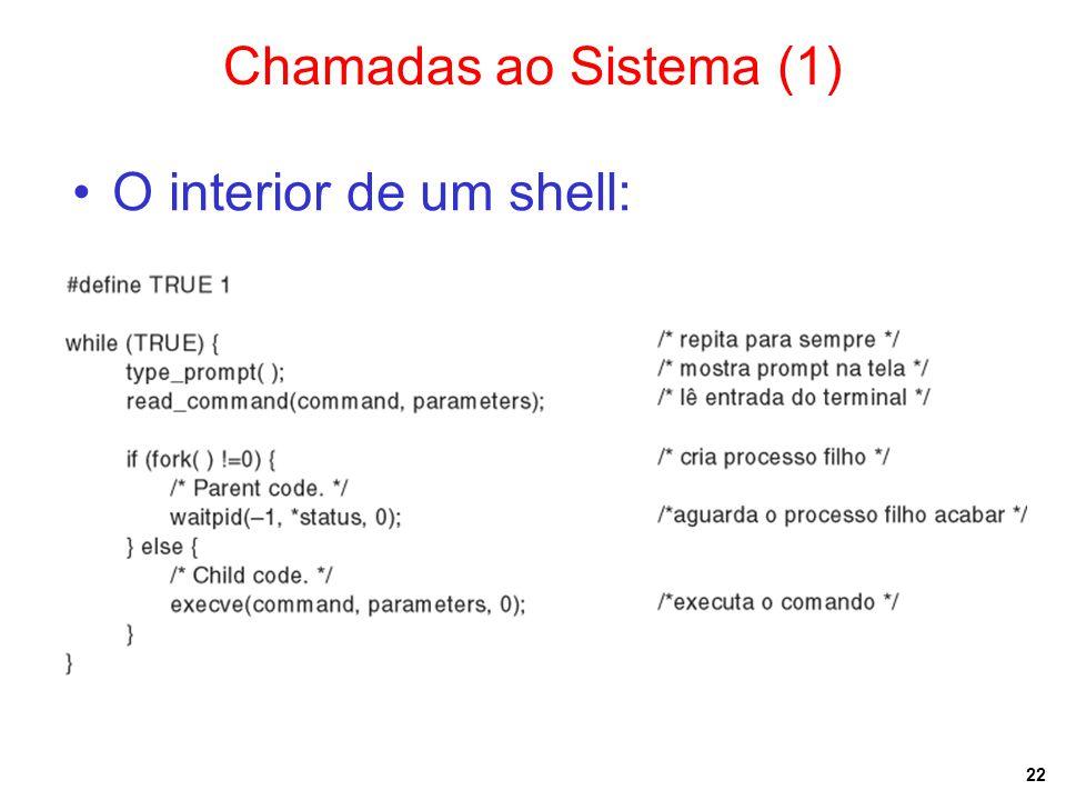 Chamadas ao Sistema (1) O interior de um shell: