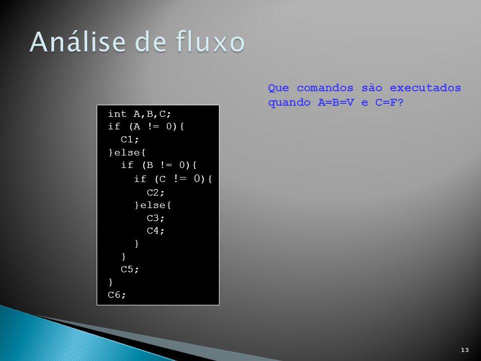 Análise de fluxo Que comandos são executados quando A=B=V e C=F
