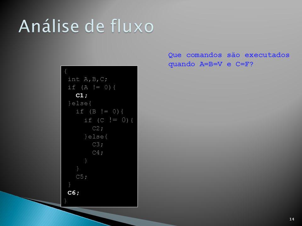Análise de fluxo Que comandos são executados quando A=B=V e C=F {