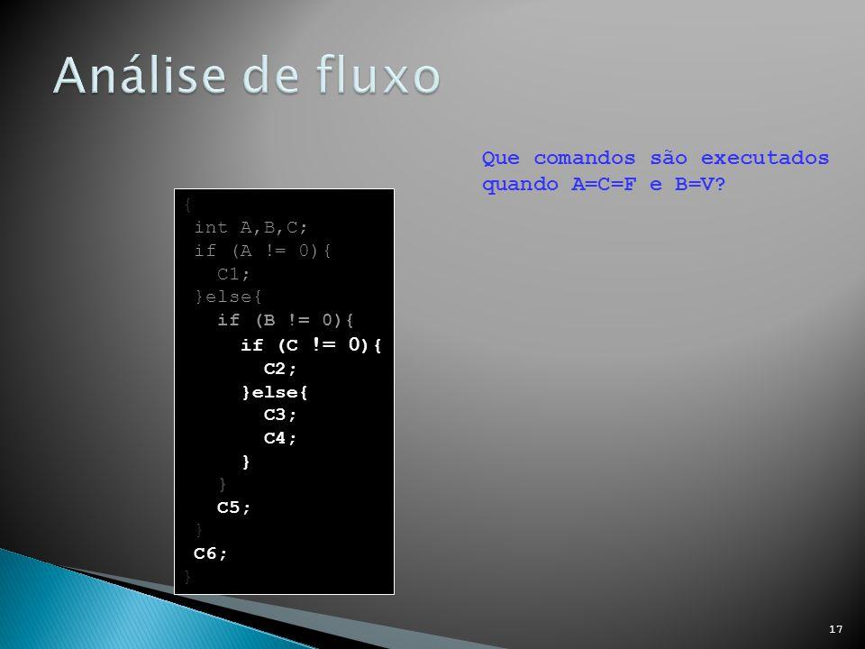 Análise de fluxo Que comandos são executados quando A=C=F e B=V {