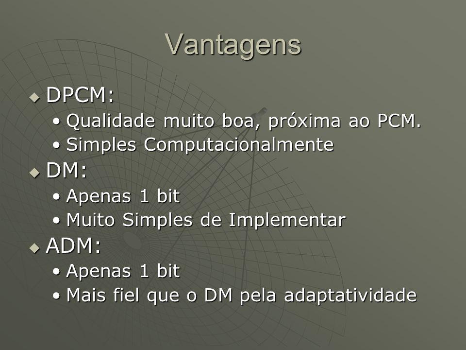 Vantagens DPCM: DM: ADM: Qualidade muito boa, próxima ao PCM.