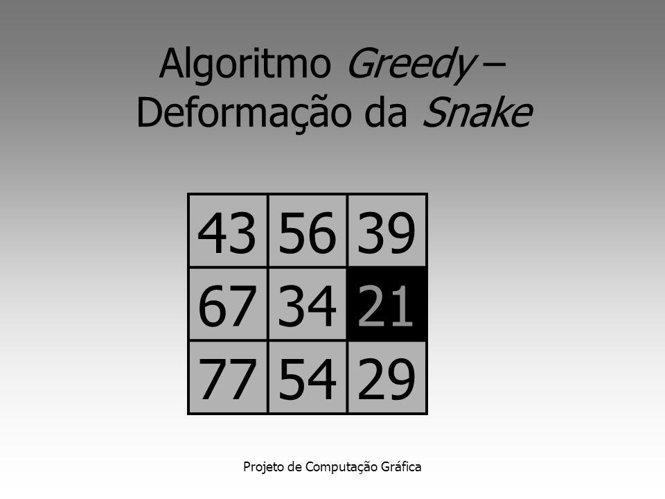 Algoritmo Greedy – Deformação da Snake. 43. 56. 39. 67. 34. 21. 77. 54. 29. 43. 56.