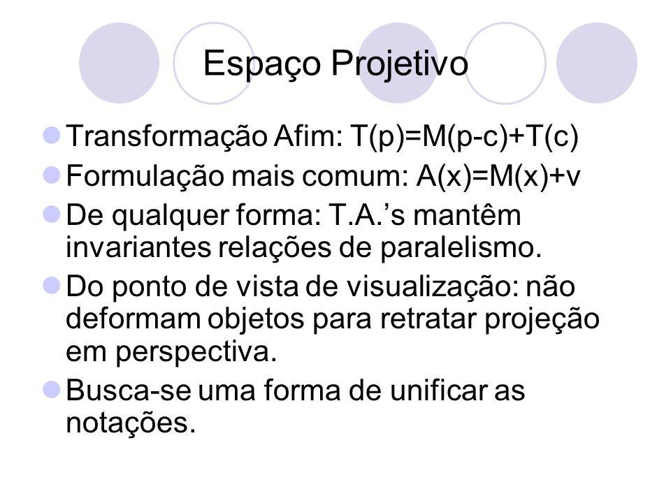 Espaço Projetivo Transformação Afim: T(p)=M(p-c)+T(c)