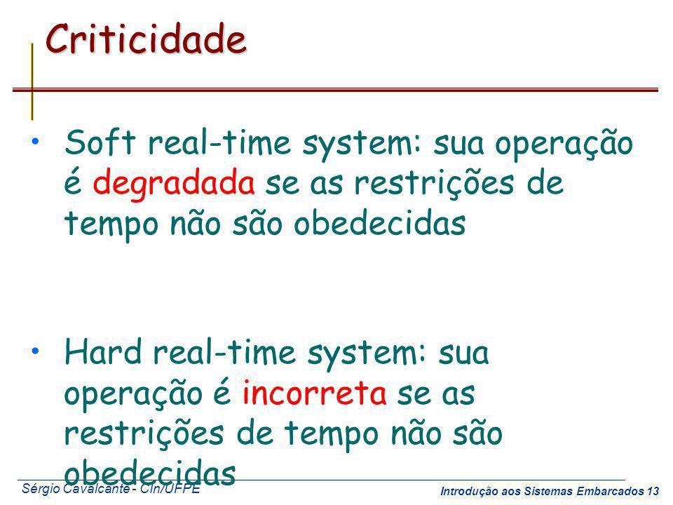Criticidade Soft real-time system: sua operação é degradada se as restrições de tempo não são obedecidas.