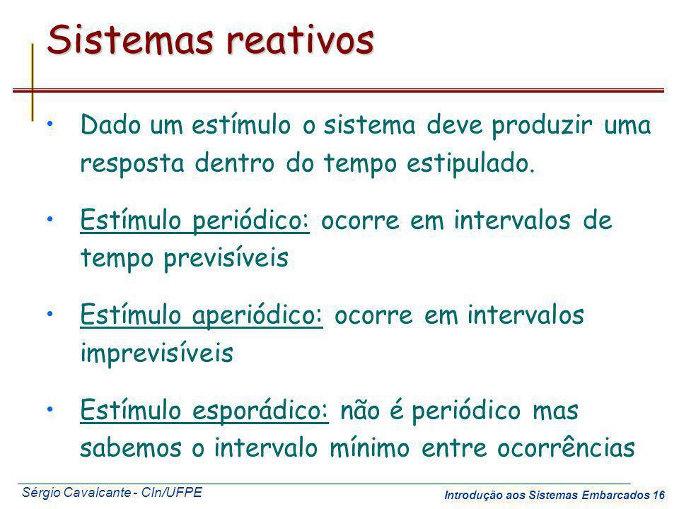 Sistemas reativos Dado um estímulo o sistema deve produzir uma resposta dentro do tempo estipulado.
