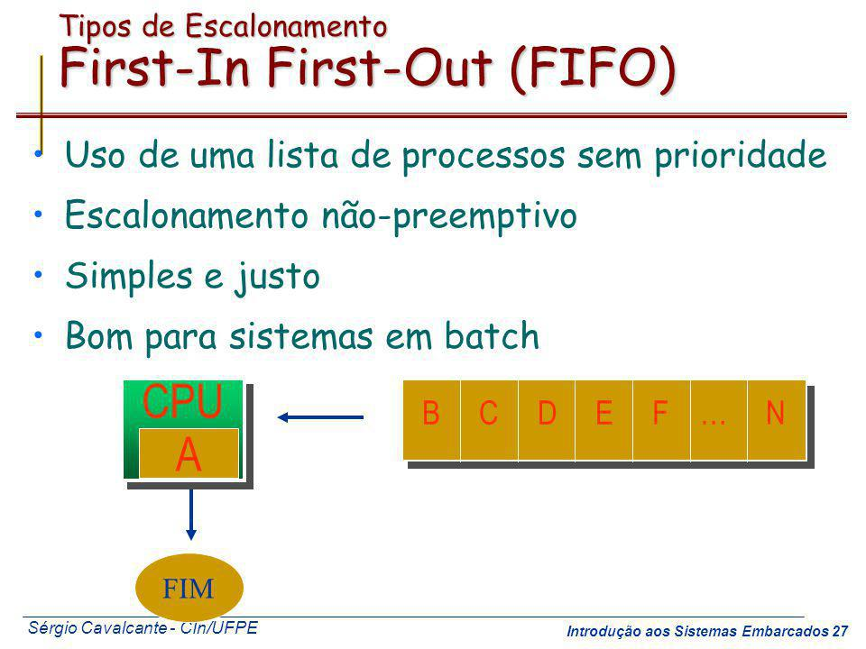 Tipos de Escalonamento First-In First-Out (FIFO)
