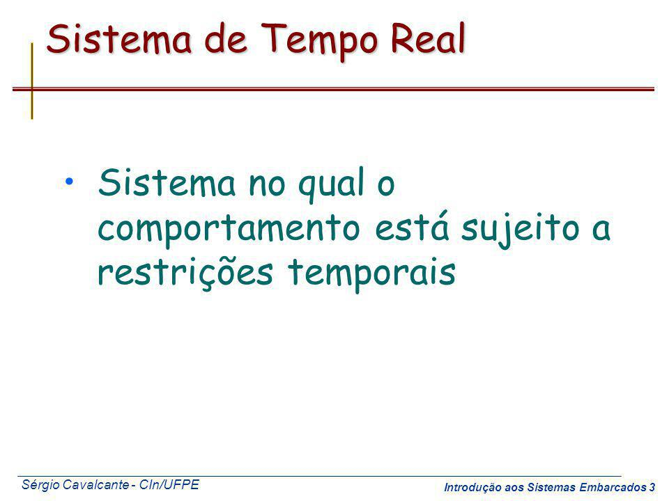 Sistema de Tempo Real Sistema no qual o comportamento está sujeito a restrições temporais. Recommended reading for this part of the course.