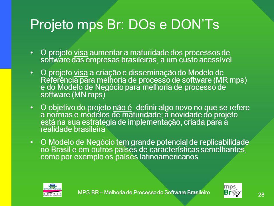 Projeto mps Br: DOs e DON'Ts