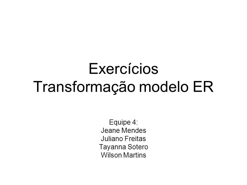 Exercícios Transformação modelo ER