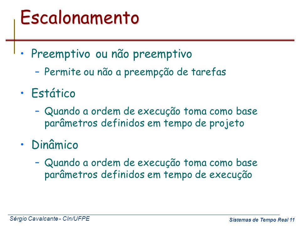 Escalonamento Preemptivo ou não preemptivo Estático Dinâmico