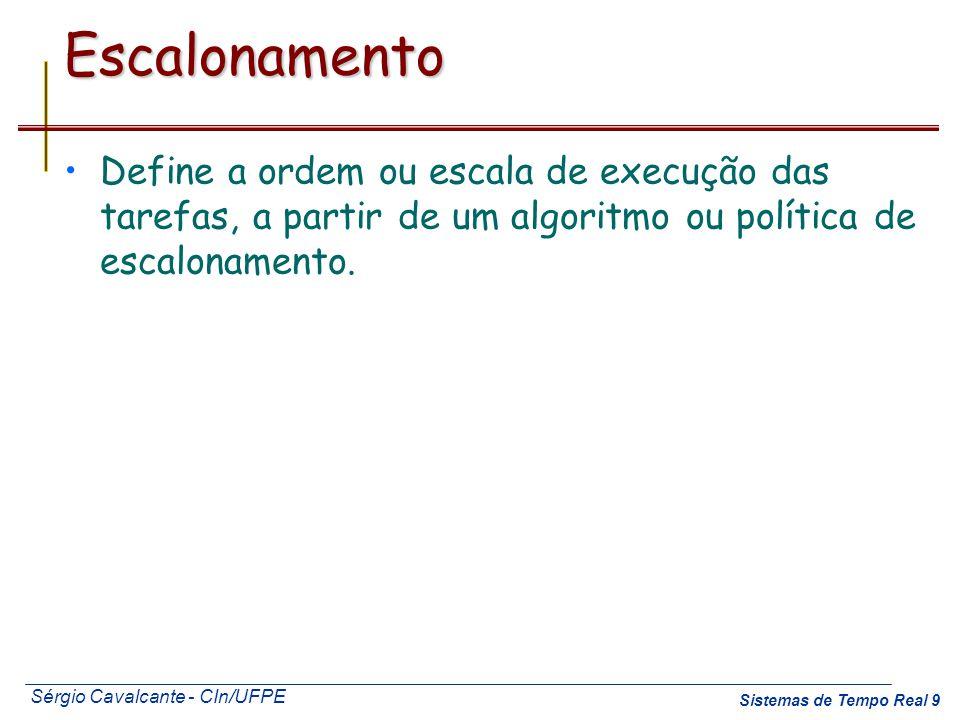 Escalonamento Define a ordem ou escala de execução das tarefas, a partir de um algoritmo ou política de escalonamento.