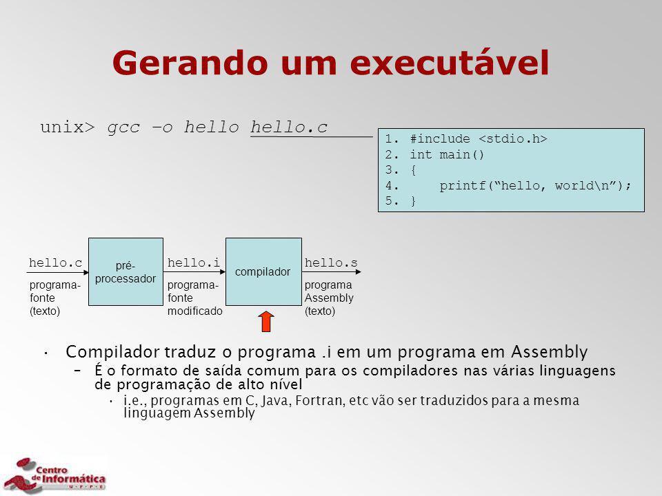 Gerando um executável unix> gcc –o hello hello.c