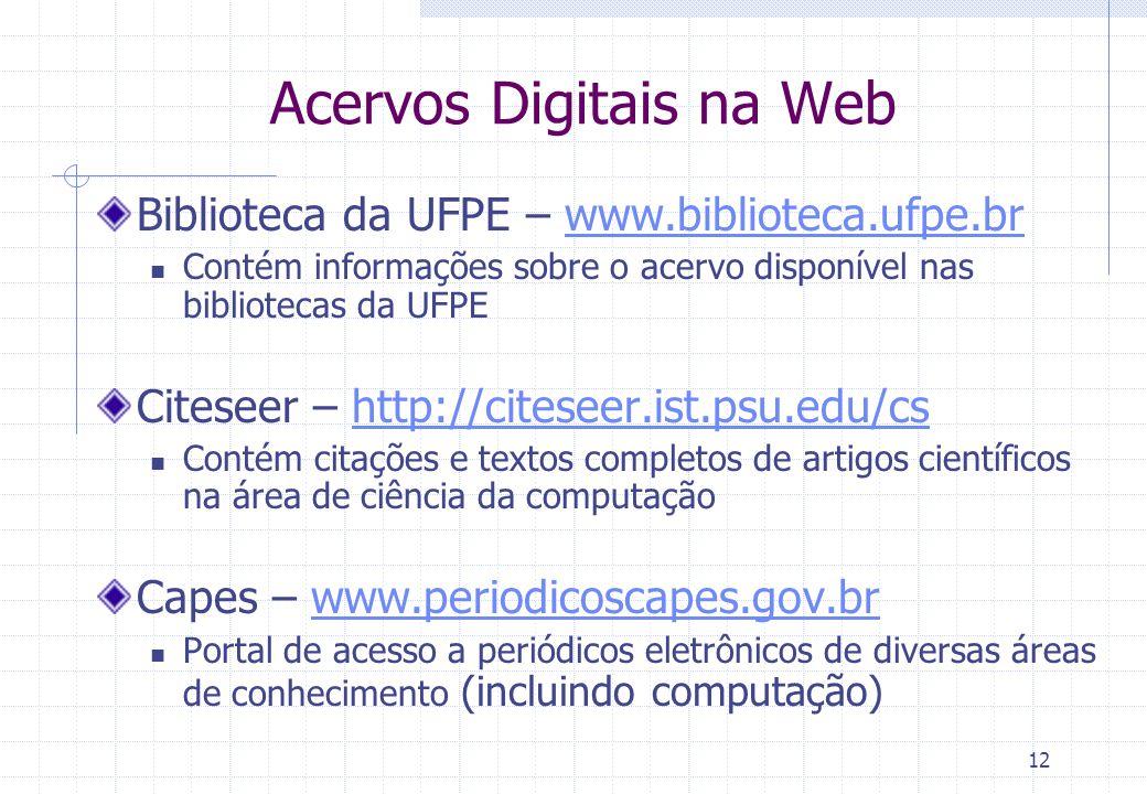Acervos Digitais na Web