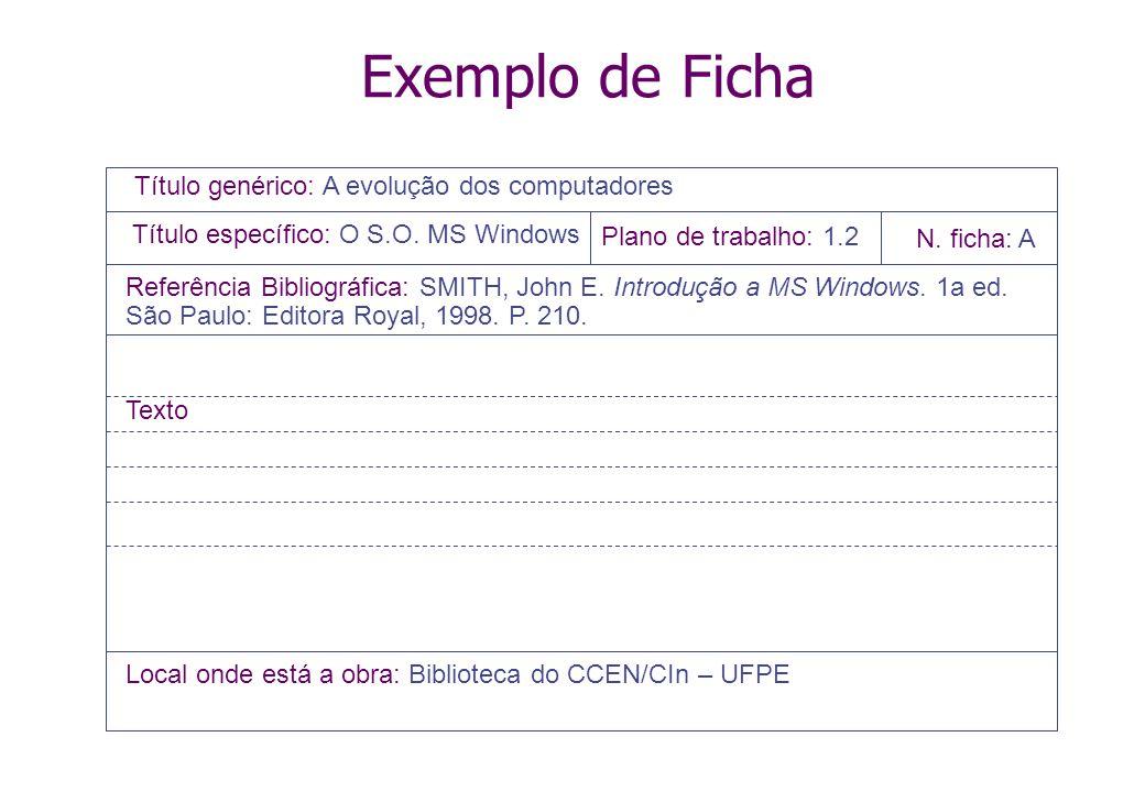 Exemplo de Ficha Título genérico: A evolução dos computadores