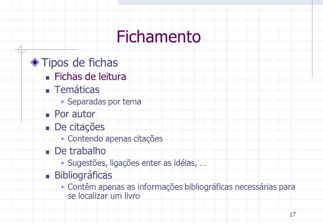 Fichamento Tipos de fichas Fichas de leitura Temáticas Por autor