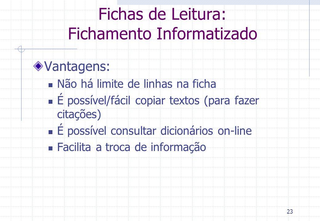 Fichas de Leitura: Fichamento Informatizado