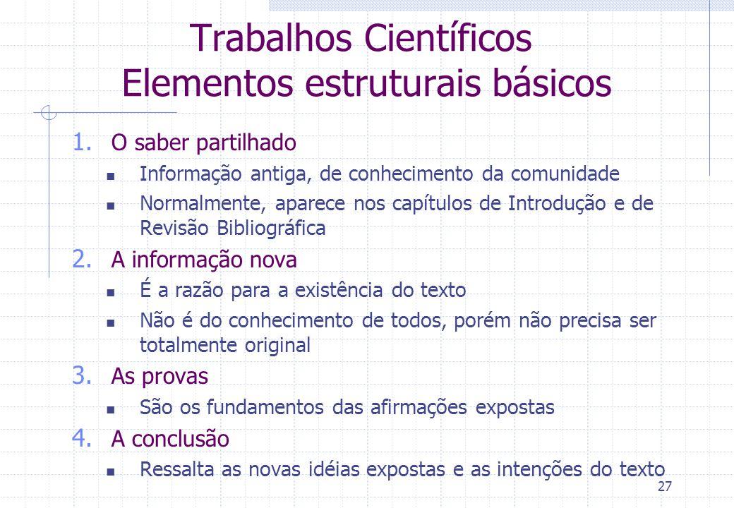 Trabalhos Científicos Elementos estruturais básicos