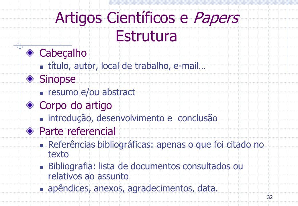 Artigos Científicos e Papers Estrutura