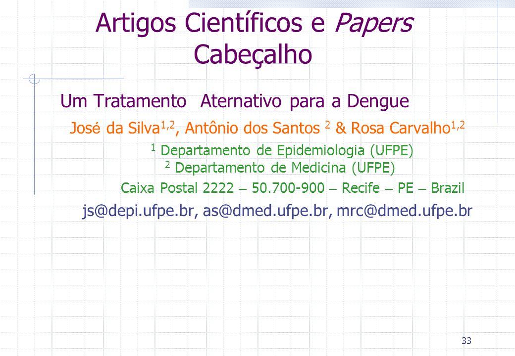 Artigos Científicos e Papers Cabeçalho
