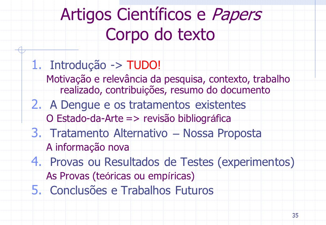 Artigos Científicos e Papers Corpo do texto