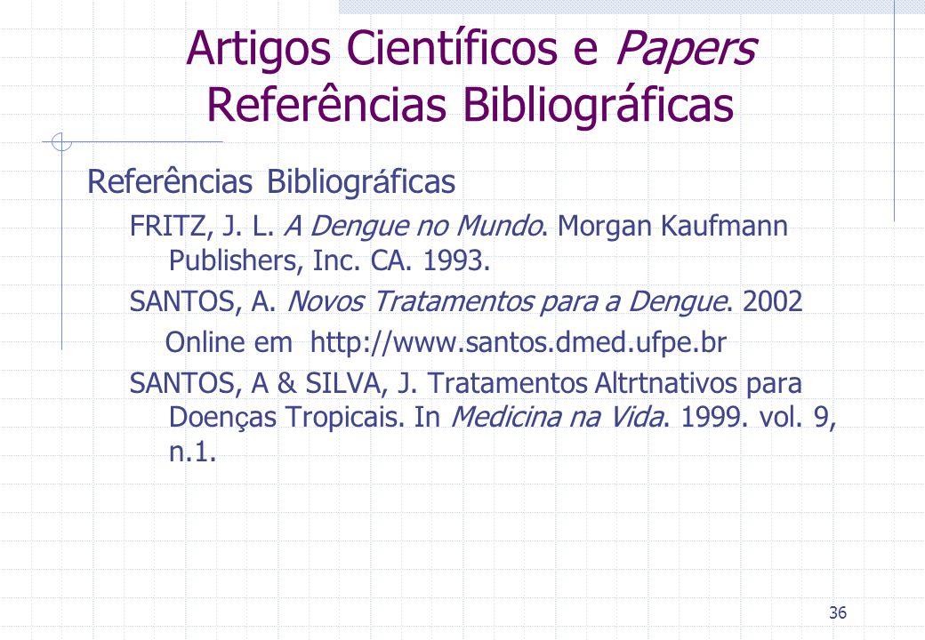 Artigos Científicos e Papers Referências Bibliográficas
