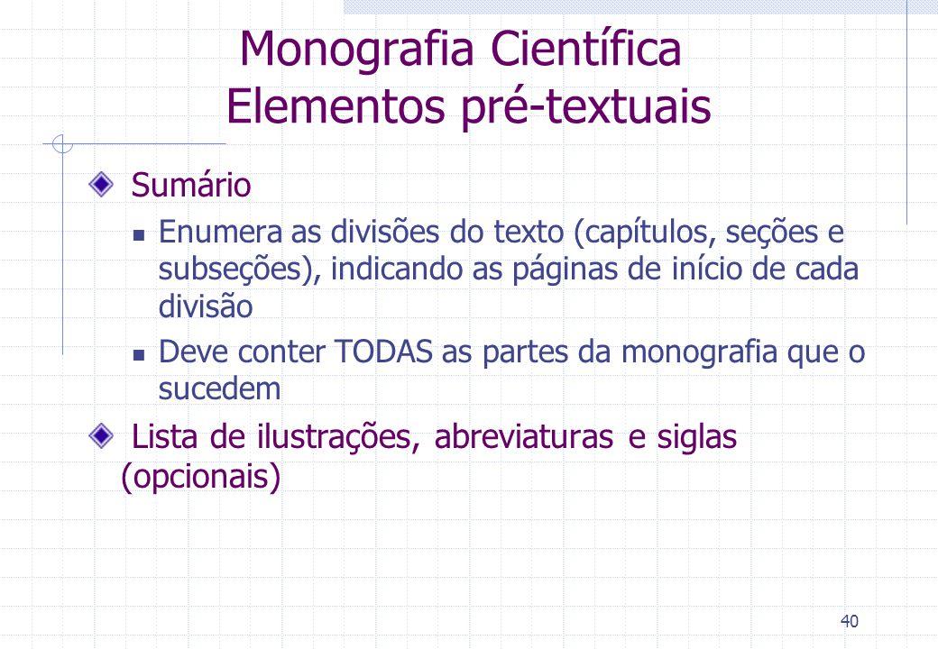 Monografia Científica Elementos pré-textuais