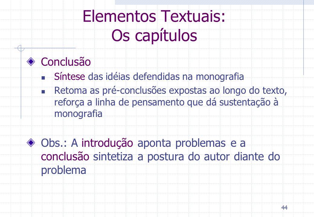 Elementos Textuais: Os capítulos