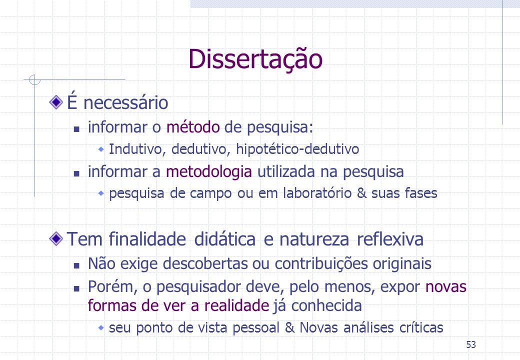 Dissertação É necessário Tem finalidade didática e natureza reflexiva