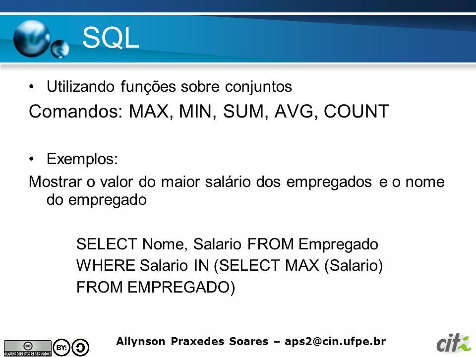 SQL Comandos: MAX, MIN, SUM, AVG, COUNT
