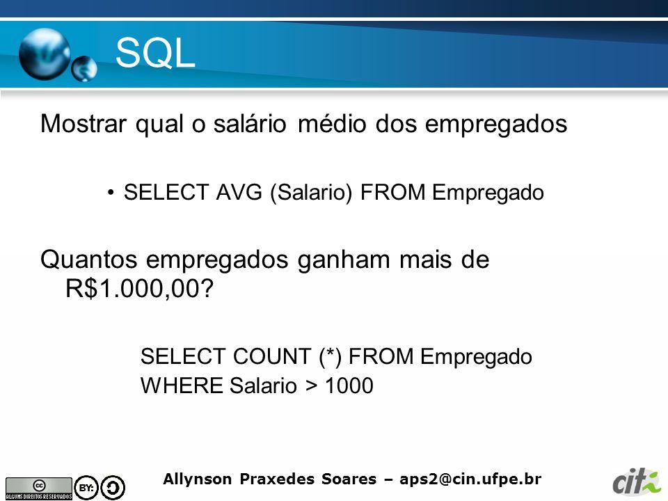 SQL Mostrar qual o salário médio dos empregados